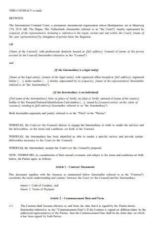Model Contract for Intermediaries Template