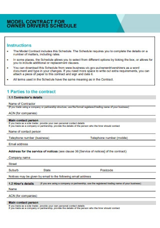 Model Contract for Owners