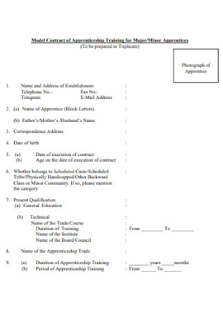 Model Contract of Apprenticeship Training for Major