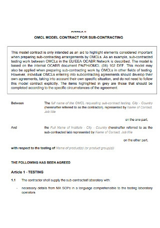 Model Contracting for Sub Contracting Template