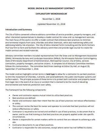 Model Ice Management Contract