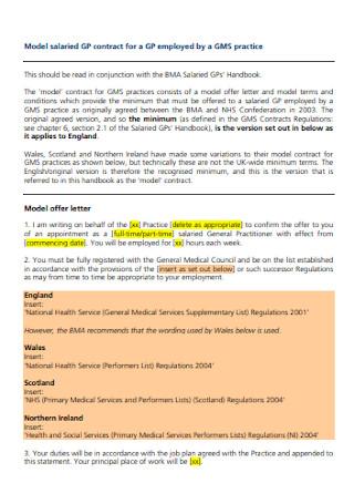 Model Salaried Employee Contract