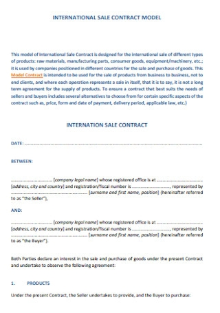 Model Sales Contract