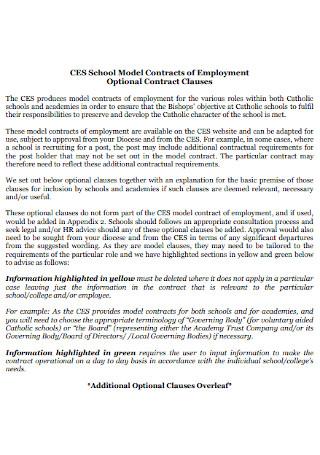 Model School Contract Template