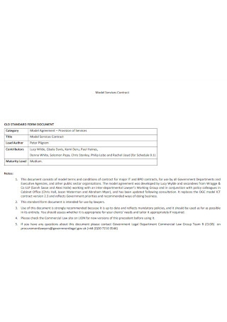 Model Service Contract Template