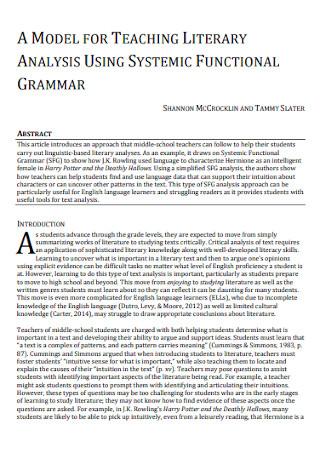 Model for Teaching Literary Analysis