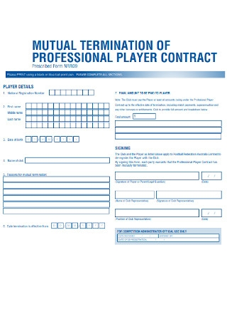 Mutual Termination of Player Contract