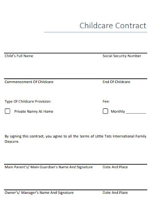 Nanny Childcare Contract Template