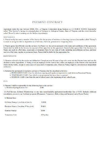 Nanny Payment Contract Template
