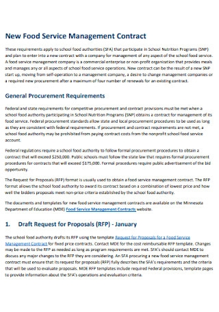 New Food Service Management Contract