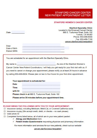 New Patient Appointment Letter