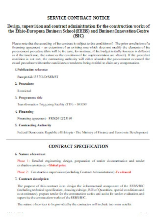 Notice Service Contract