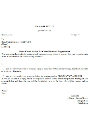 Notice for Cancellation of Registration Template