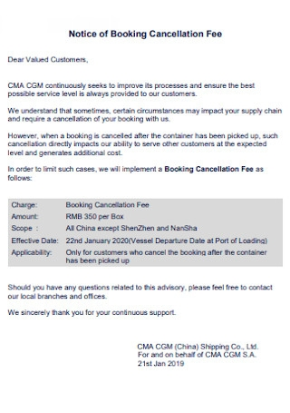 Notice of Booking Cancellation Fee