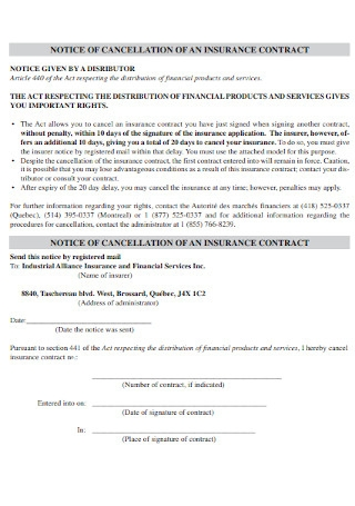 Notice of Cancellatiion of Insurance Contract