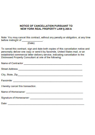 Notice of Cancellation for Real Property