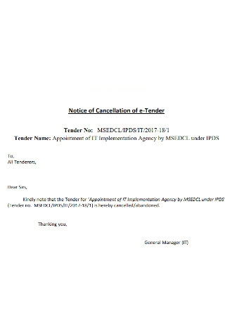 Notice of Cancellation of e Tender