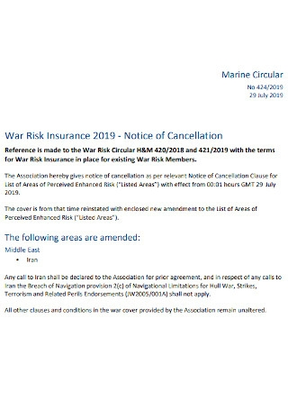 Notice of Insurance Cancellation