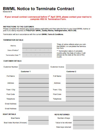 Notice to Termination Contract Template