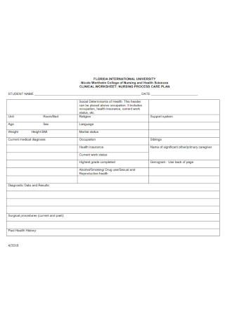 Nursing Process Care Plan Template