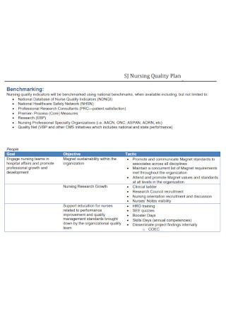 Nursing Quality Plan