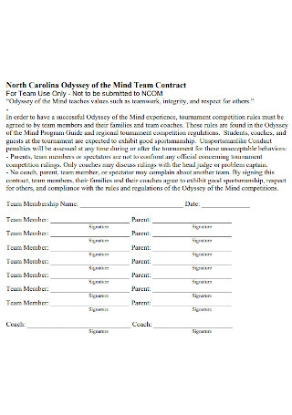 Odyssey of the Mind Team Contract