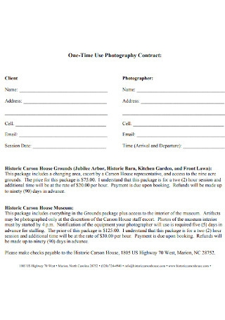 One Time Use Photography Contract