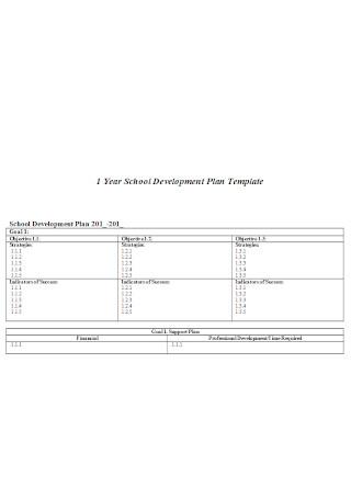 One Year School Development Plan