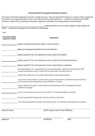 Parent Supporter Behavior Contract