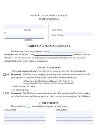 Parenting Plan Agreement