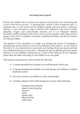 Parenting Plan Proposal Template