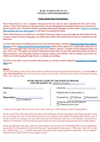 Parenting Plan Worksheet Template