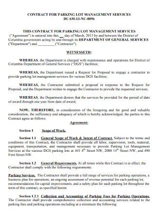 Parking Management Service Contract