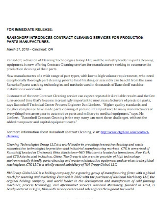 Parts Manufactures Cleaning Contract