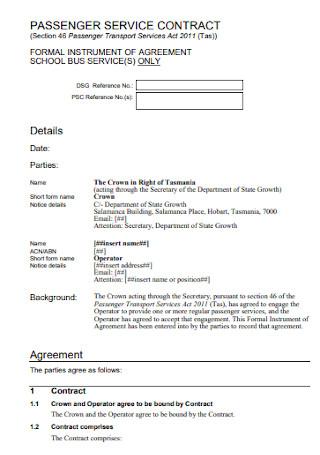 Passenger Service Contract