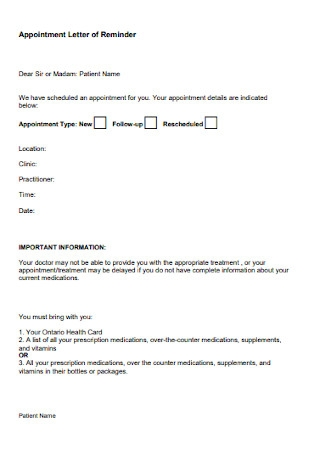 Patient Appointment Letter of Reminder