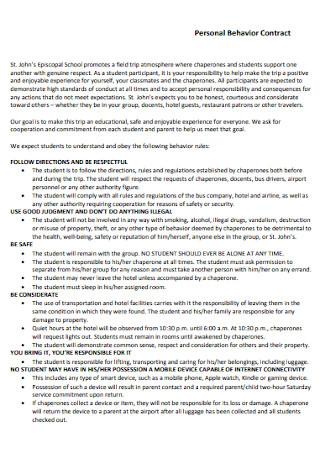 Personal Behavior Contract