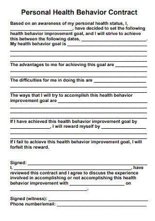 Personal Health Behavior Contract