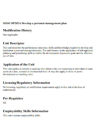 Personal Management Plan Template