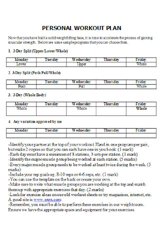 Personal Workout Plan Template