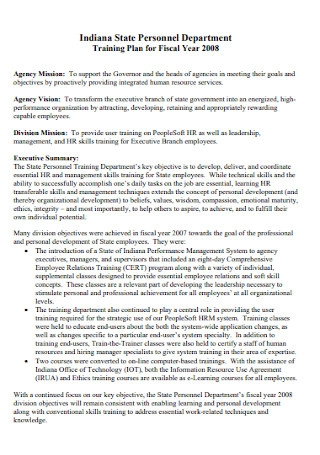 Personnel Department Training Plan