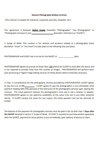 Photography and Video Contract