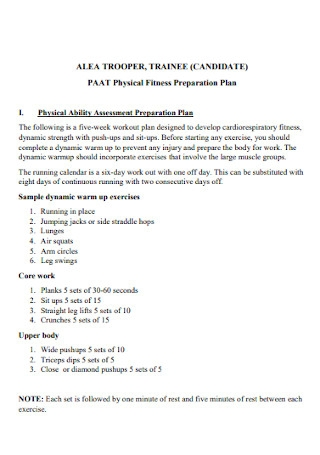 Physical Fitness Preparation Plan