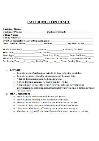 Pizza Catering Contract