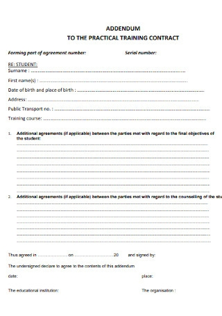 Practical Training Contract Template