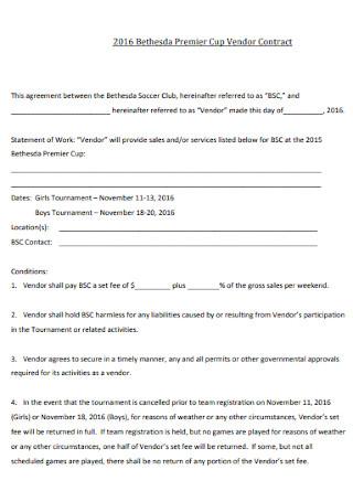 Premier Cup Vendor Contract