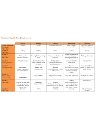 Preschool Weekly Plan Example