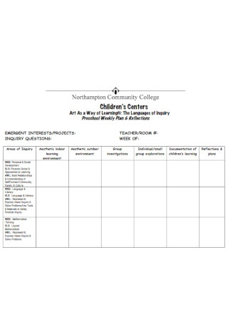 Preschool Weekly Plan Template