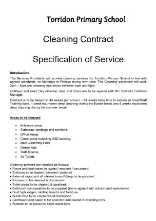 Primary School Cleaning Contract