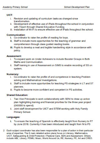 Primary School Development Plan
